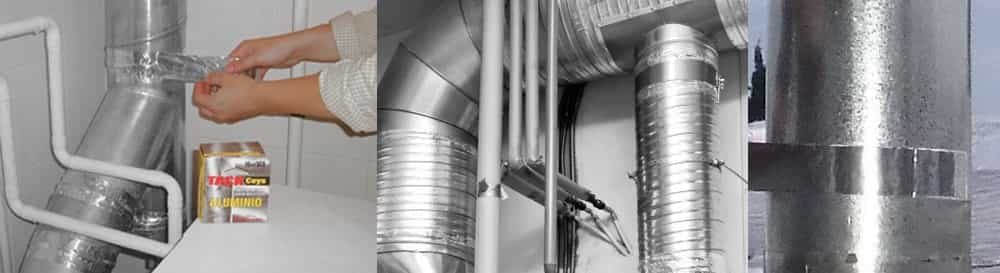 Cinta Aluminio Estufas, Chimeneas, Tubos de Escape, Aire acondicionado. Tuberias. Calefacción.