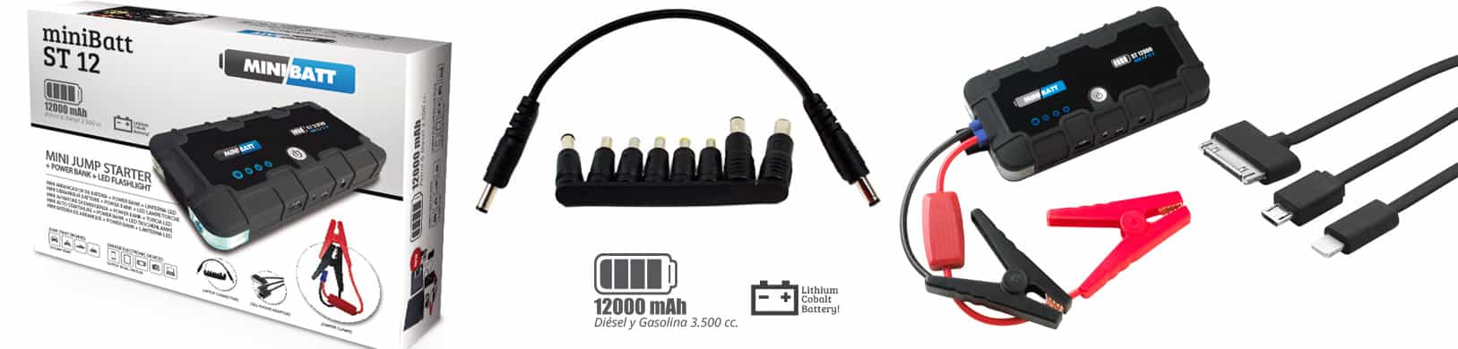 MiniBatt Arracador coches, motos, embarcaciones. Cargador moviles, tables, adroid, apple.