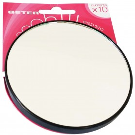 Espejo Beter Oooh! x10 Aumentos. Espejo macro x10 con ventosas. Espejo Lupa para cosmética o limpieza, espejo de viaje.