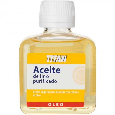 Aceite de lino vegetal purificado para mezclar con los colores al óleo y obtener veladuras y transparencias.