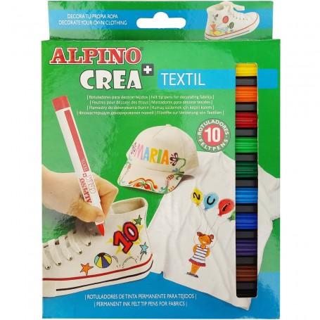 Rotuladores Textil Alpino Crea 10 colores,  rotuladores de tinta permanente para tejidos.