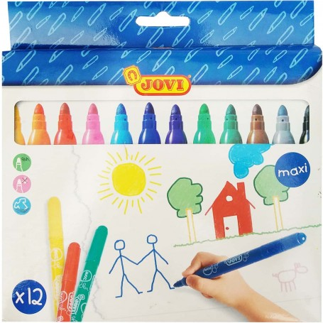 Rotuladores Escolar Jovi Maxi Punta Gruesa para dibujos sobre papel.