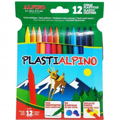 Pack Ceras Plasticas Uso Escolar PastiAlpino Alpino 12 colores, ceras finas.