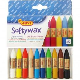 Ceras Blandas Uso Escolar Sorftywax Jovi 10 colores, ceras de 1 cm de Ø y 6 cm de largo, un clásico como material escolar