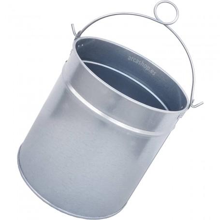 Cubo Pozo metal Galvanizado Zinc, uso en Aljibes y Pozos. Cubo metal también parta decoración. Cubo mediano, 9 litros.