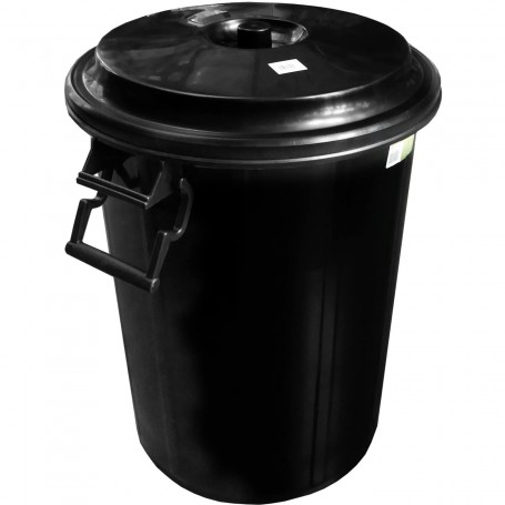 Cubo Basura Negro con tapa 100 Litros o 50 litros. Cubo basura jardinero, comunidades, barbacoas y fiestas. Cubo económico.