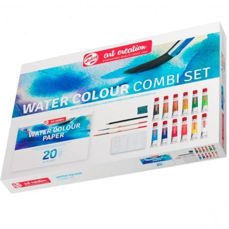 12 colores tubos 12 ml acuarela, Bloc papel A4 (20 hojas), 2 x pinceles, recipiente para mezclas, lápiz, goma moldeable. Regalo.