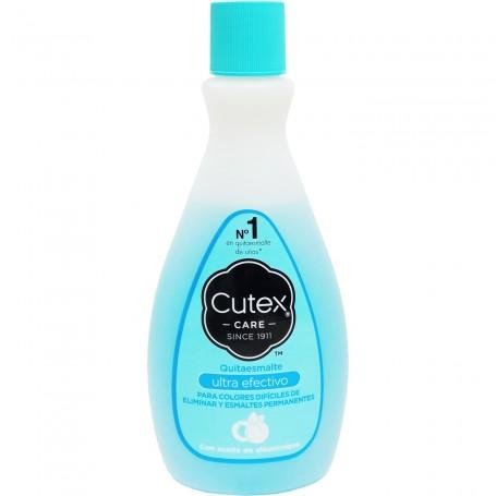 Cutex, quitaesmalte uñas, con acetona. Envase azul. Cutex ultra efectivo.