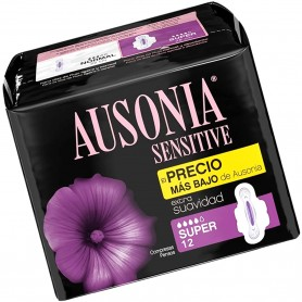 Compresas Ausonia Sensitive con alas.