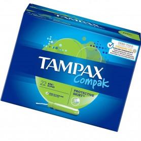 Tampones Super Tampax Compak, 22 tampones por paquete.