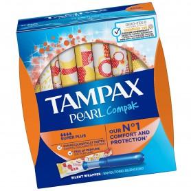 Tampones Tampax Compak Pearl Super Plus, 22 tampones por paquete.