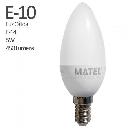 E10 Bombilla Vela Led 450 Lumens, casquillo E-14, Luz Cálida, 5 watios.