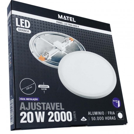 Plafón LED Techo/Pared Panel Circular Matel luz fría (luz blanca) 2000 Lumnes 20 W diámetro 23 cm extrafino