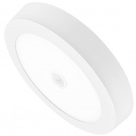 Downlight LED 18 W, Matel, Panel Superficie redondo, con sensor movimiento o presencia.