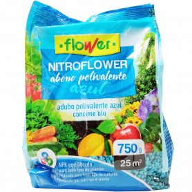 Abono Azul Gránulos Polivalente NPK Plantas y Jardín 750 grs Flower Nitroflower
