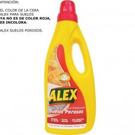 Cera Alex Roja (tapón rojo, el líquido es INCOLORO, todo tipo de suelos) y Cera Alex Incolora Bote 750 ml.