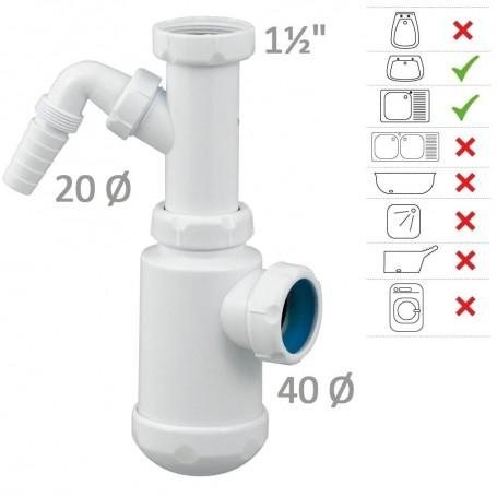 Sifón Botella C/Toma Lavadora T-T4 Tecno Agua 50051