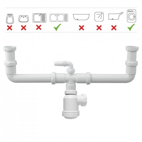 Sifón Doble de Botella Extensible y toma de Lavadora S/Válvula  T-45 Tecno Agua 50205