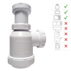 "Sifón Botella Ext. 1½"" T-4 S/Válvula Tecno Agua 50041"