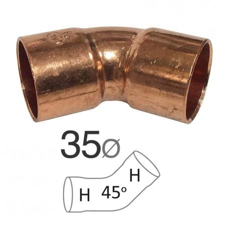 Codo Cobre 45º Hembra-Hembra para instalaciones de gas y agua fontanería