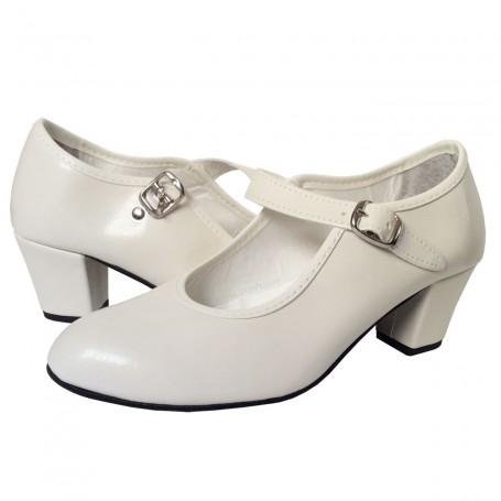 Zapato de Gitana o Flamenca sintético colores blanco negro crema azul rojo lunares