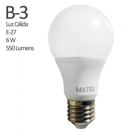 B3 Comprar Bombilla Led 550 Lumens, casquillo E-27, Luz Cálida, 6 watios.