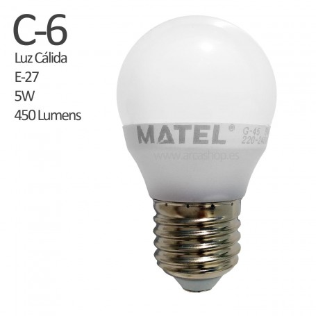 C6 Bombilla Led 450 Lumens, casquillo E-27, Luz Cálida, 5 watios.