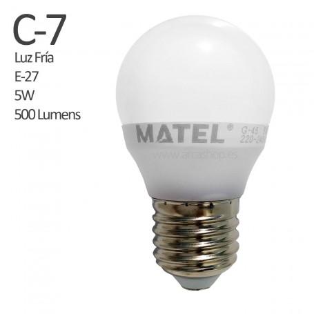 C7 Bombilla Led 500 Lumens, casquillo E-27, LuzFría, 5 watios.