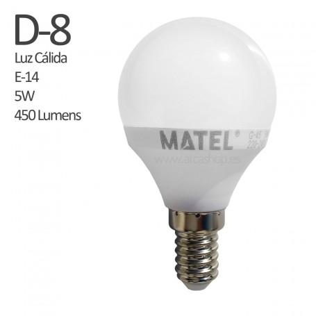 D8 Bombilla Led 450 Lumens, casquillo E-14, Luz Cálida, 5 watios.