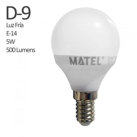 D9 Bombilla Led 500 Lumens, casquillo E-14, Luz Fría, 5 watios.