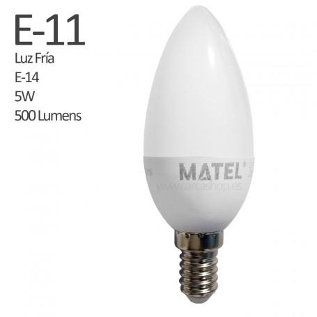 E11 Bombilla Vela Led 500 Lumens, casquillo E-14, Luz Fría, 5 watios.