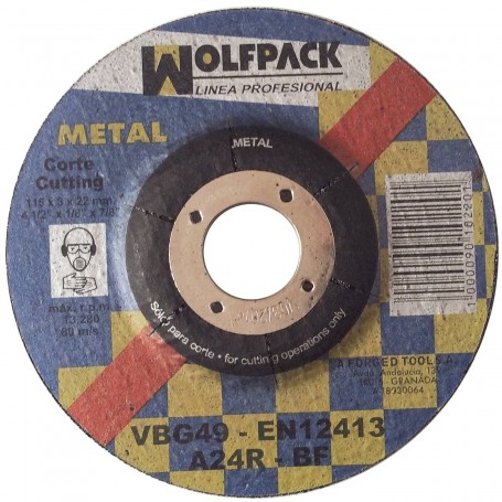 Disco Corte Metal Wolfpack radial pequeño 115 mm
