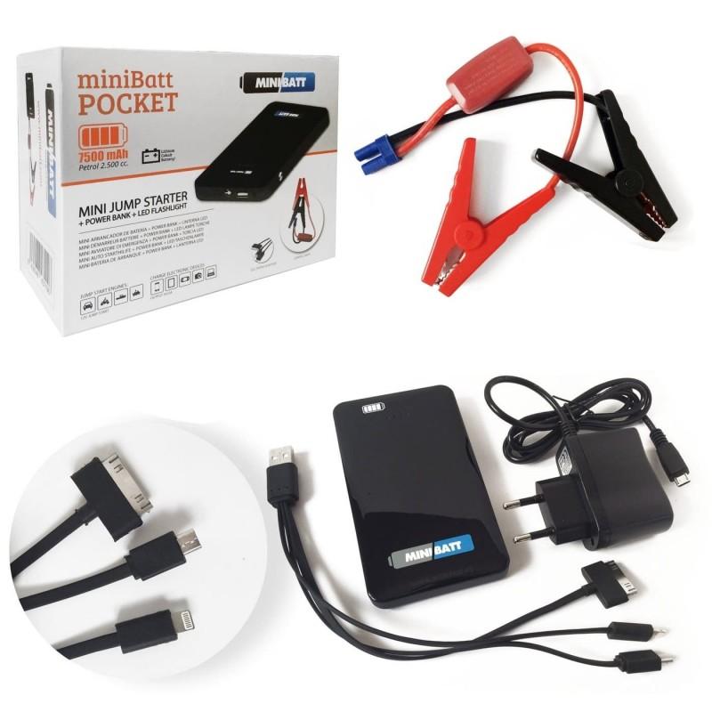 MiniBatt POCKET - Bateria cargador móviles, tablets. Arrancador batería coches, motos.