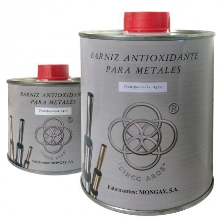 Barniz Antioxidante Metales Mongay cobre, a latón, aluminio, plata, niquelados, cromados