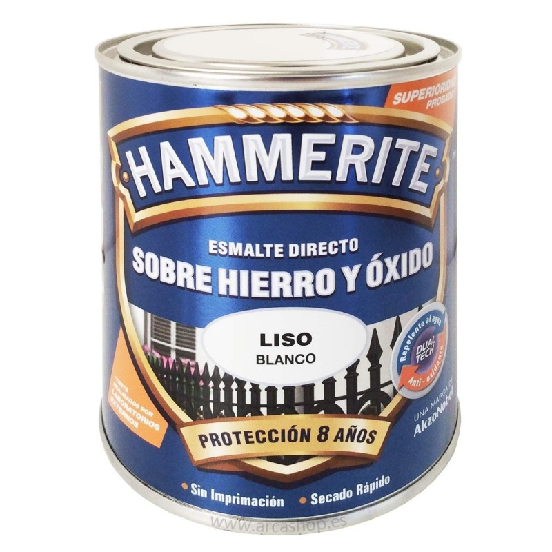 Esmalte sobre hierro y óxido Hammerite - Blanco