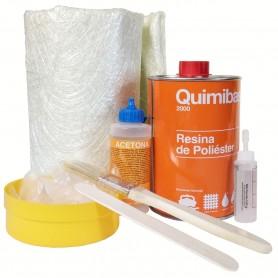 Kit Resina Poliéster Quimibase. Resina Tixotropada Acelerada, Catalizador (peróxido de MEK), Acetona, Fibra de Vidrio Mat-300
