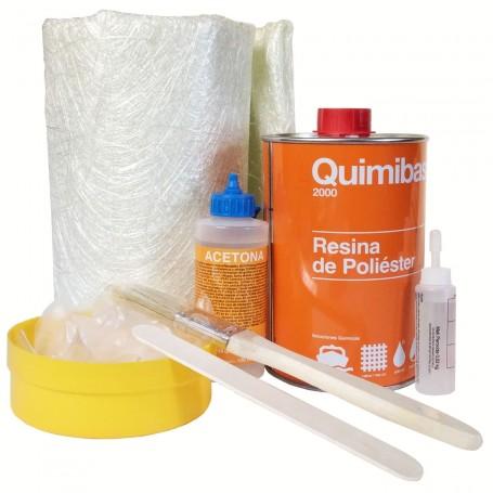 Kit Resina Poliéster Quimibase: Catalizador, Manta, Resina, Acetona...