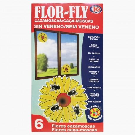Flor-Fly Cazamoscas sin Veneno. Sin olor, no mancha, eficaz atrapa moscas para el hogar y jardín