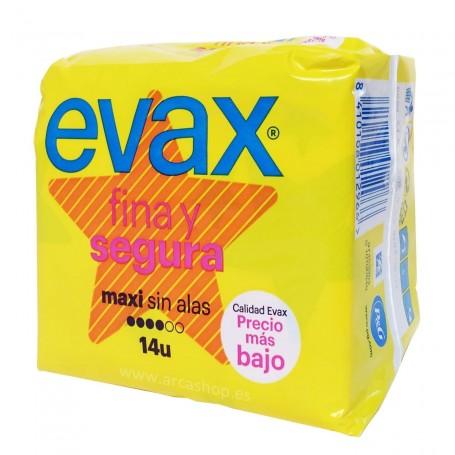Maxi sin Alas. Compresas EVAX Fina y Segura. Productos de farmacia y droguería.