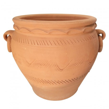 Maceta Cuenco de cerámica con detalles de relieve y argollas (anillas) de decoración.
