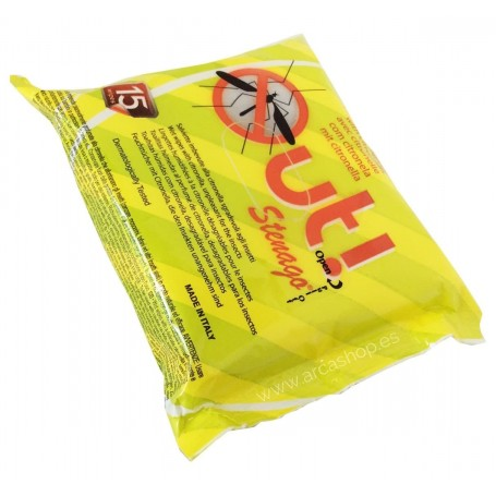 Toallitas Repelente moscas y mosquitos OUT. Toallita humeda anti mosquitos