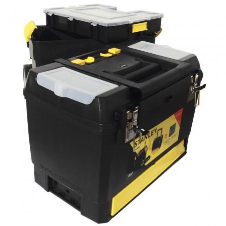 Carro Caja Herramientas Vertical Stanley dos módulos con tapa y caja de piezas pequeñas. herramientas manuales y eléctricas