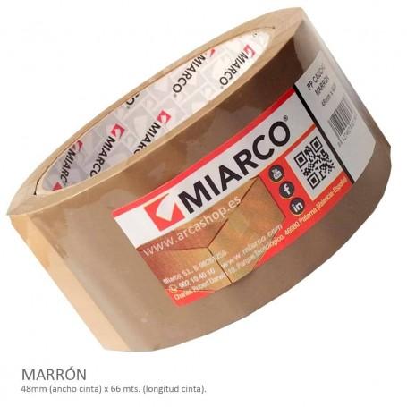 Cinta Embalar PP Caucho Miarco Marron: Cinta barata por cantidad.