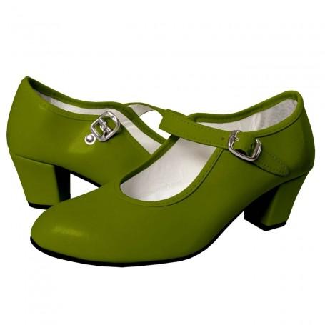 Zapato de Gitana o Flamenca Piel Sintética Verde