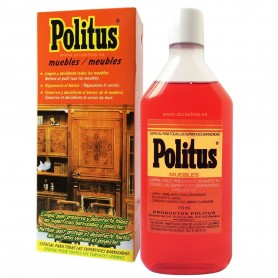 POLITUS Limpia Abrillanta Desinfecta muebles barnizados, poliéster, cueros imitaciones, pianos, parquets, puertas y ventanas.