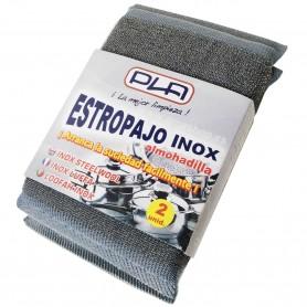 Estropajo Inox con almohadilla PLA. Estropajo tejido metálico y espuma interior.