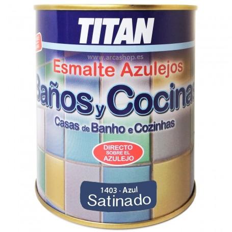 Esmalte Azul 1403 Satinado Azulejos Titan Baño y Cocina