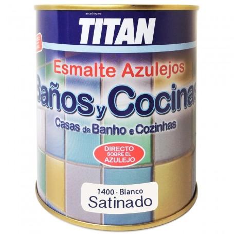 Esmalte Blanco 1400 Satinado Azulejos Titan Baño y Cocina