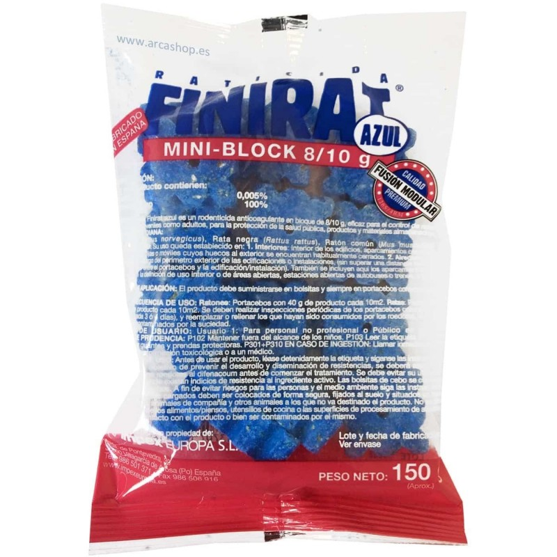 Raticida Mini-block Finirat bloques azules 8/10 grs