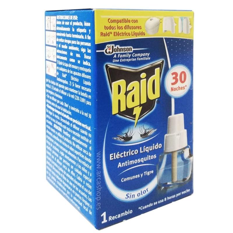 Recambio Líquido antimosquitos Raid y Difusor Eléctrico Líquido Raid